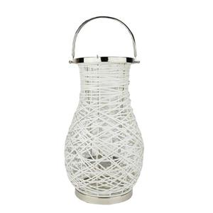 Northlight Woven Iron Pillar Candle Lantern - White/Glass - 18""