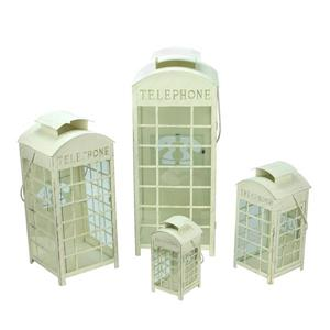 Northlight Telephone Booth Pillar Candle - Cream and Gold - Set of 4
