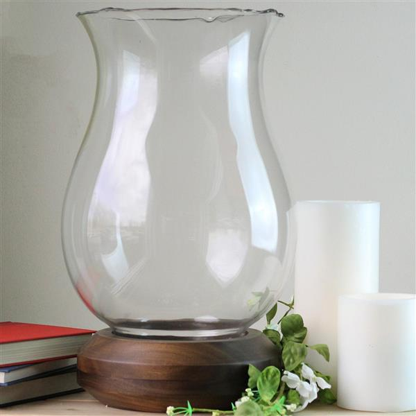 Northlight Hurricane Pillar Candle Holder - Wooden Base/Clear Glass
