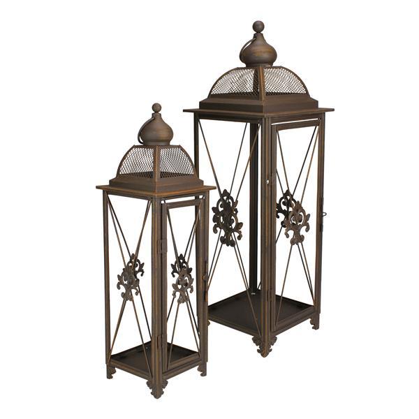 Northlight Fleur-De-Lis Pillar Candle Holder Lanterns - Rust - Set of 2