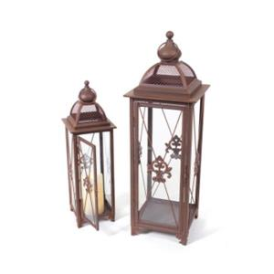 Northlight Fleur-De-Lis Pillar Candle Holder Lanterns - Rust - Set of 2