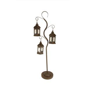 Northlight Rustic Brown Pillar Candle Holder Tree - 3 Lanterns - 50""