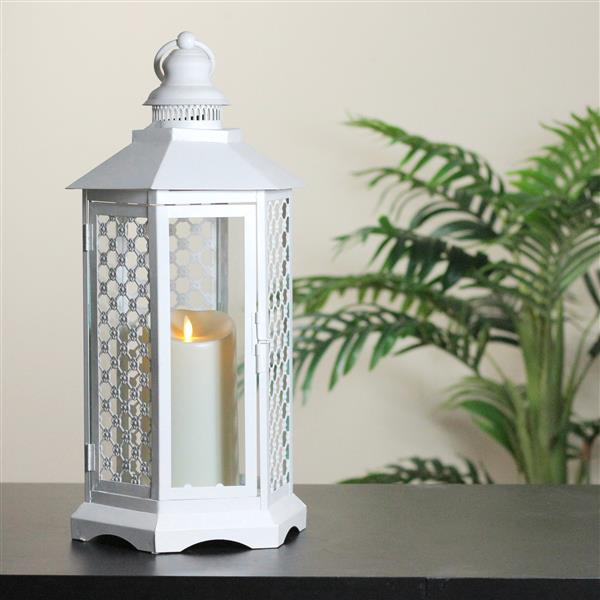Northlight White Lantern with Luminara Flameless LED Lighted Candle