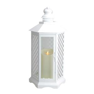 Northlight White Lantern with Luminara Flameless LED Lighted Candle