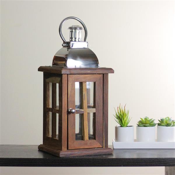 Northlight Modern Sheesham Wood Candle Lantern with Silver Metal Handle