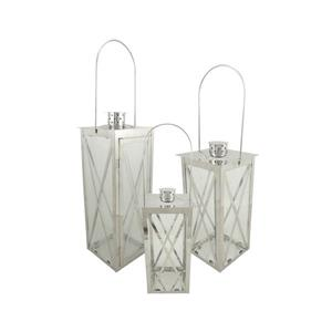 Northlight Silver Cottage Style Pillar Candle Holder Lanterns- Set of 3
