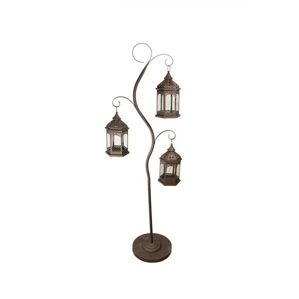 "Northlight Rustic Brown Pillar Candle Holder Tree - 3 Lanterns - 60"""