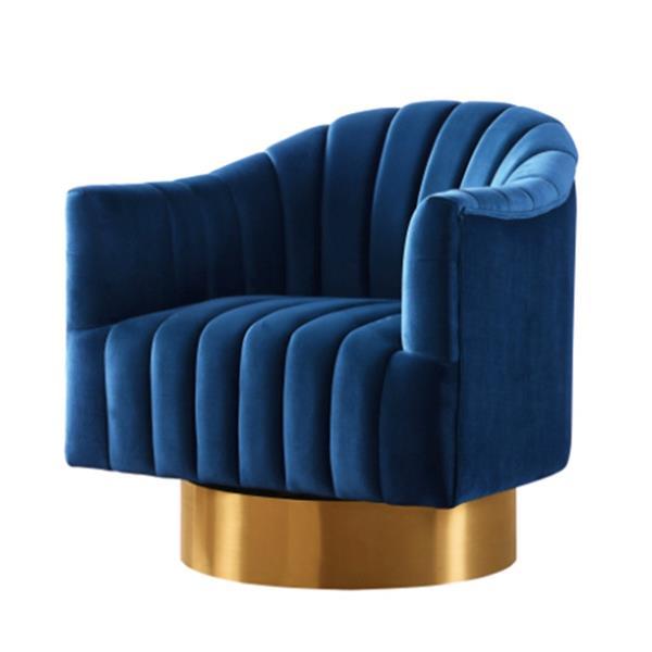 Fauteuil d'appoint pivotant, velours bleu marin, base or