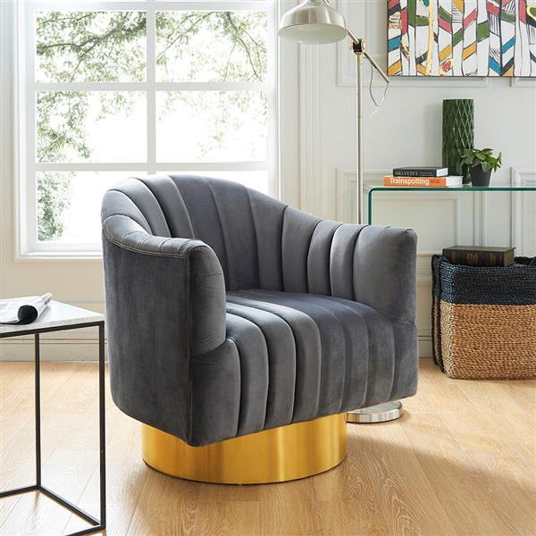 Hi-Line Gift Grey Velvet Accent Chair - Gold Base