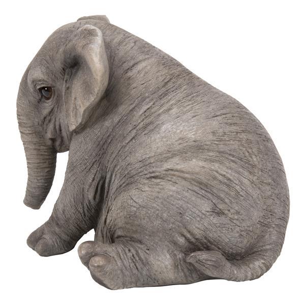 "Hi-Line Gift Decorative Garden Statue - Chubby Elephant Sitting - 4.8"""