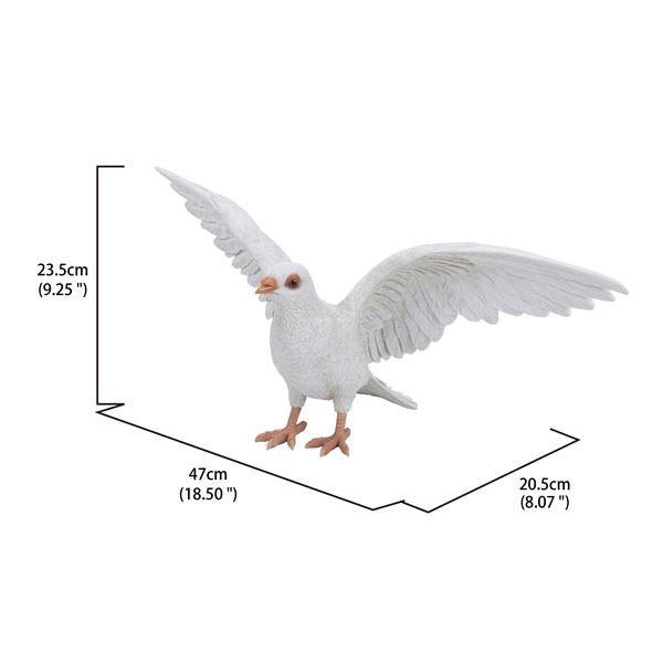 "Hi-Line Gift Decorative Garden Statue - White Pigeon Spreads Wing - 9.25"""