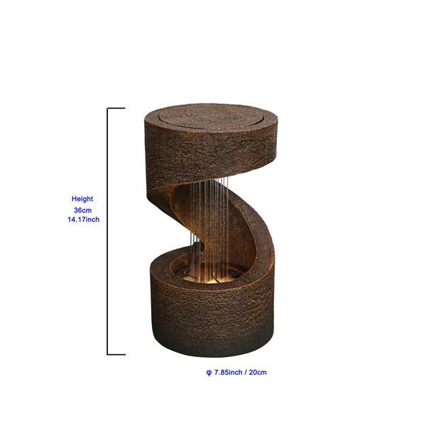 """Hi-Line Gift Garden Fountain - Brown Resin - LED Light - 14"""""""
