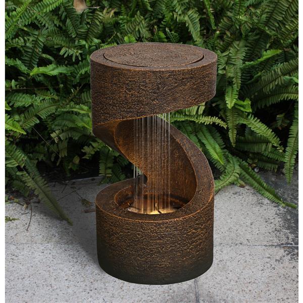 "Fontaine de jardin en polyrésine, 14"""