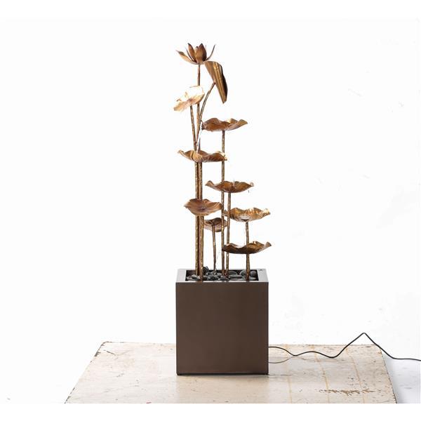 "Hi-Line Gift Lotus Garden Fountain - Metal Gold - 43.3"""