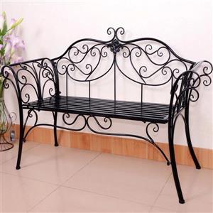 "Hi-Line Gift Metal Garden Bench - Antique Black - 51.5"""