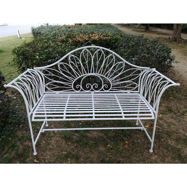 Hi Line Gift Ltd Metal, White Metal Garden Bench