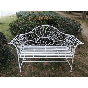"Hi-Line Gift Metal Garden Bench - White - 54"""