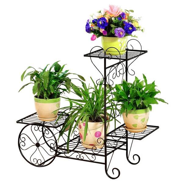 Support pour plante en métal, 4 tablettes, noir et bronze