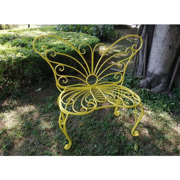 Hi-Line Gift Metal Garden Butterfly Chair - Yellow