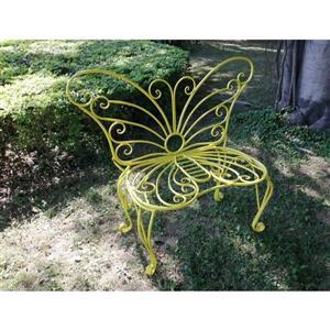 Chaise de jardin en métal, papillon, jaune