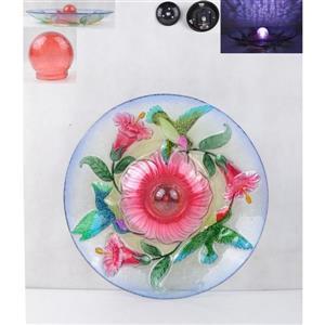 Bain d'oiseau en verre floral, éclairage solaire, rouge