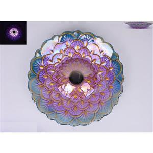 Hi-Line Gift Birdbath With Stand - Solar Lighted - Purple