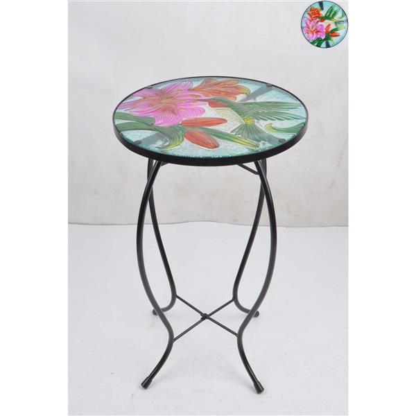 "Hi-Line Gift Floral Glass Hummingbird Garden Table - 21"""