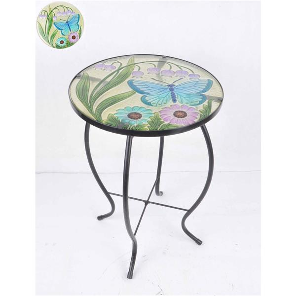 Hi-Line Gift Floral Glass Butterfly Garden Table - 21""