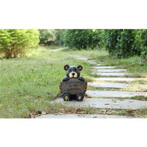 """Statue de jardin, ourson avec panneau de bienvenue, 12,25"""""""