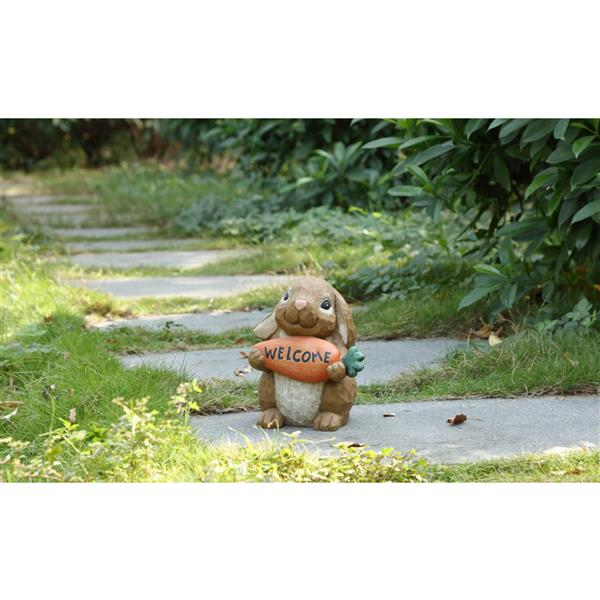 """Hi-Line Gift Decorative Garden Statue - Rabbit With Welcome Sign - 10"""""""
