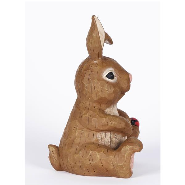 "Hi-Line Gift Decorative Garden Statue - Rabbit Sitting With Ladybug - 12"""