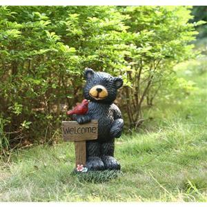 """Statue de jardin, ours avec panneau de bienvenue, 18,5"""""""