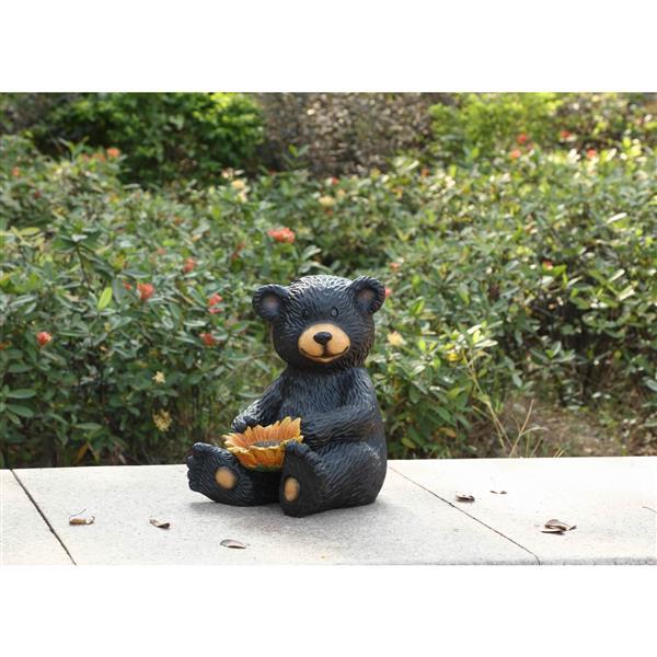 "Hi-Line Gift Decorative Garden Statue - Bear Cub Holding Sunflower - 13"""