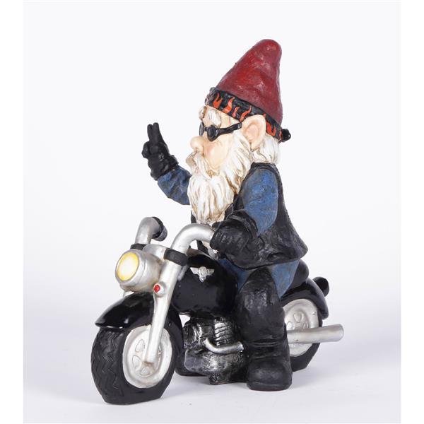 """Hi-Line Gift Decorative Garden Statue - Peace Biker Gnome - 9.75"""""""