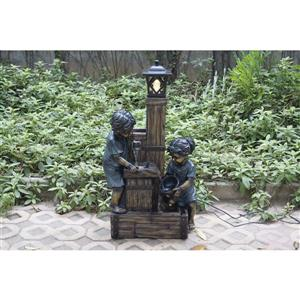Hi-Line Gift Kids Lamp Post Fountain - LED Light - Bronze