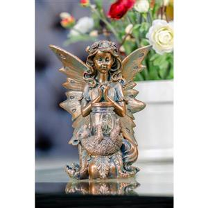 Hi-Line Gift Decorative Garden Statue - Fairy Sitting - Solar LED - 9.84""