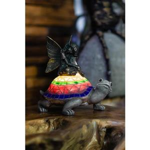Hi-Line Gift Decorative Garden Statue - Fairy With Turtle - LED - 7.09""