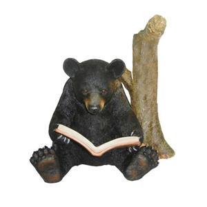 """Statue de jardin, ours noir avec tronc d'arbre, 22,5"""""""