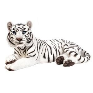 "Statue de jardin, tigre blanc couché, 13"""