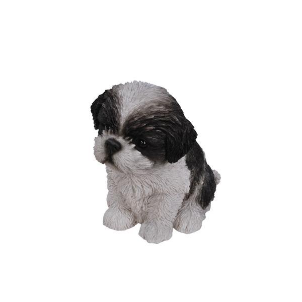 """Hi-Line Gift Decorative Garden Statue - Shih Tzu Puppy - Black/White - 6"""""""