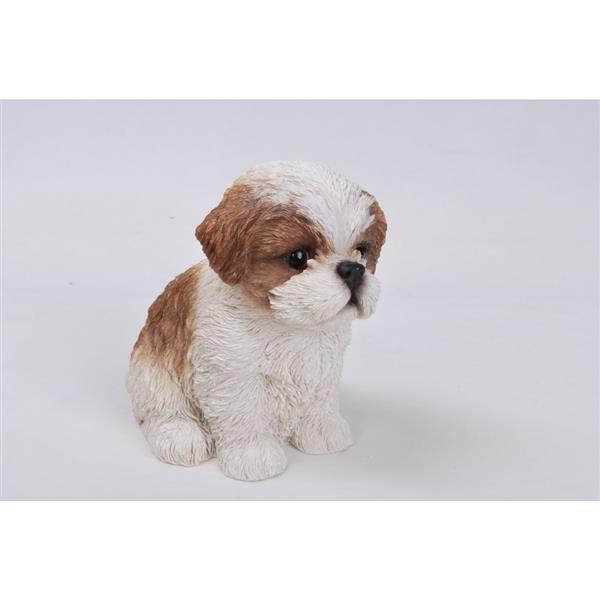 """Hi-Line Gift Decorative Garden Statue - Shih Tzu Puppy - Brown/White - 6"""""""