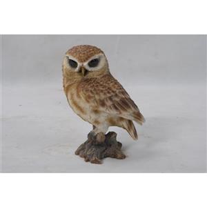 "Hi-Line Gift Decorative Garden Statue - Small Brown Owl On Stump - 6"""