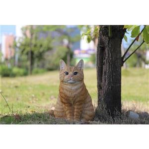 """Statue de jardin, chat tigré roux assis, 11,5"""""""