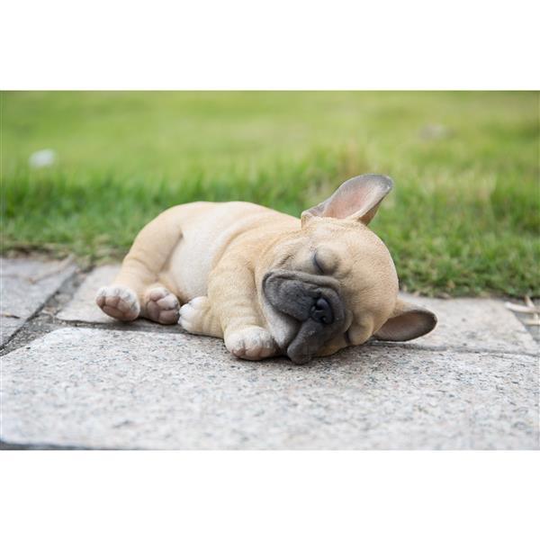 """Hi-Line Gift Decorative Garden Statue - Sleeping Pug Puppy - 3.3"""""""