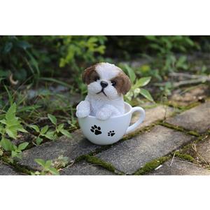 "Hi-Line Gift Decorative Garden Statue - Teacup Shih Tzu Puppy - 6"""