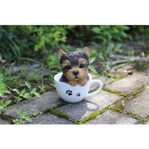 """Statue de jardin, chiot yorkshire avec tasse à thé, 6"""""""