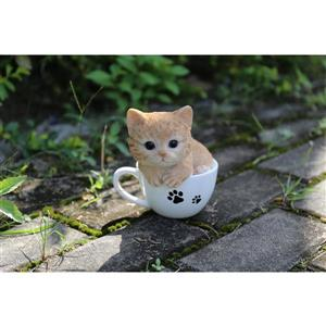 "Hi-Line Gift Decorative Garden Statue - Teacup Red Tabby Kitten - 5.75"""