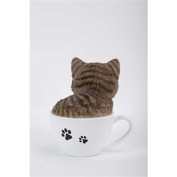 "Hi-Line Gift Decorative Garden Statue - Teacup Grey Tabby Kitten - 5.75"""