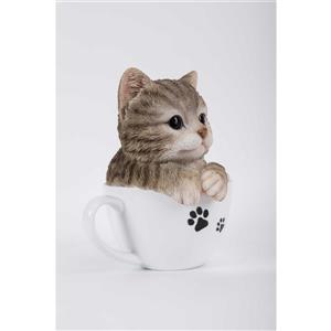 Hi-Line Gift Decorative Garden Statue - Teacup Grey Tabby Kitten - 5.75""