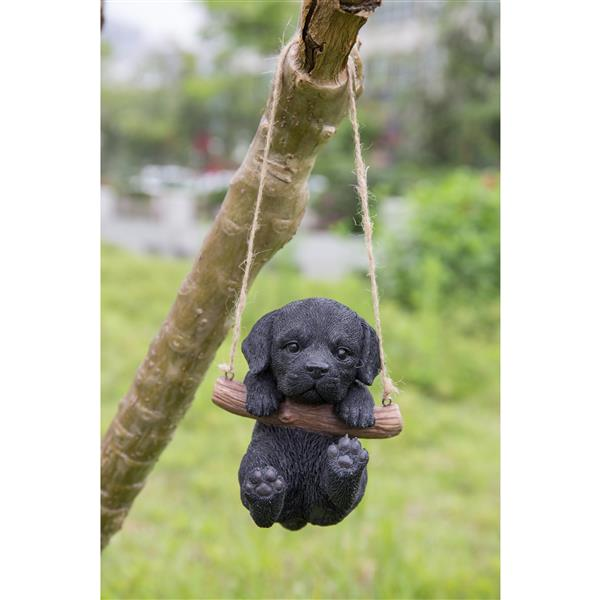 "Hi-Line Gift Decorative Garden Statue - Black Labrador Puppy Hanging - 5"""